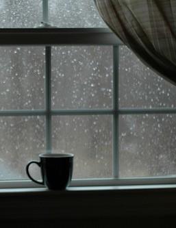 cofee on a rainy day window
