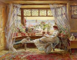 reading-by-the-window-charles-james-lewis